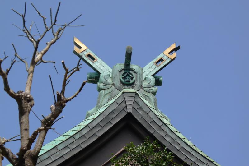 金刀比羅宮東京分社の屋根の「金」の文字