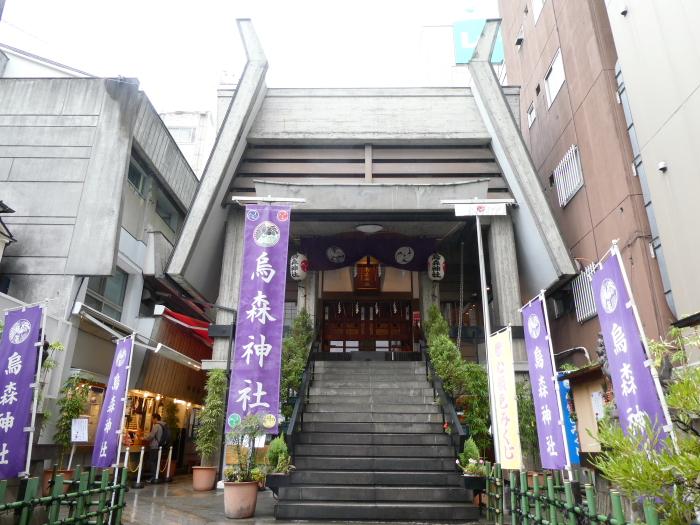 港区_新橋_烏森神社の社殿を俯瞰で