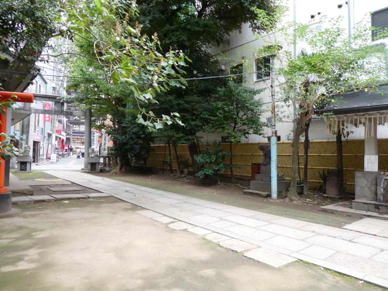 銀杏岡八幡神社の社殿から境内を見渡すと、鳥居の向こうに繁華街が見えている