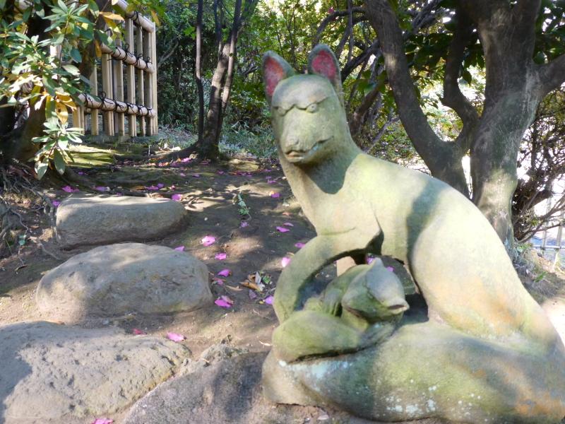 港区_白金氷川神社の境内社「衣食住の守護の神様」の近くにいる目つきの悪いお稲荷さん